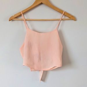 BRANDY MELVILLE Cropped Peach Tie-Back Shirt XS